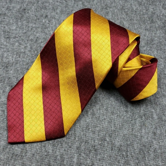 Merge Left Red and Gold Diagonal Stripe Silk Tie